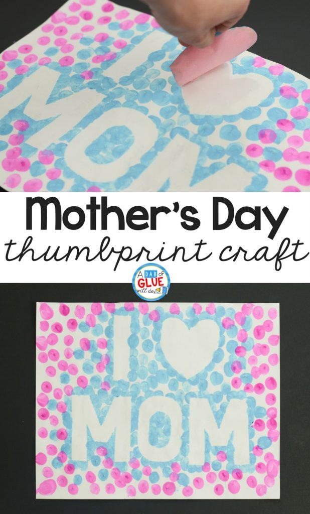 Work on fine motor skills while creating a memorable I Love Mom Mother's Day thumbprint craft