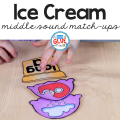 Are you working on middle sounds or vowels in your classroom? Your students are going to LOVE this Ice Cream Middle Sound Match Ups!