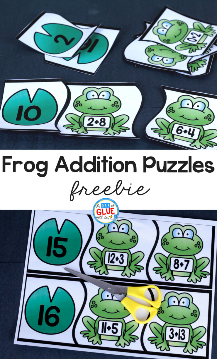 Your students will absolutely LOVE these Frog Addition Puzzles!