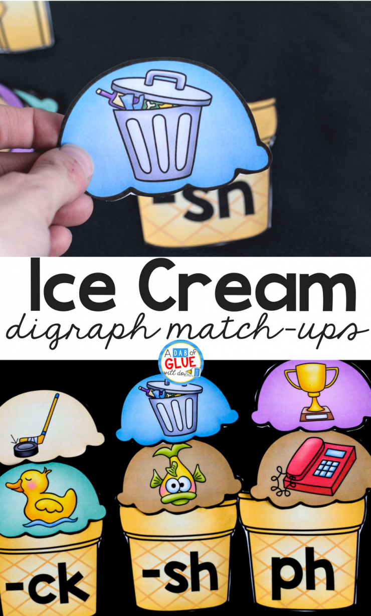 Hands-on early literacy fun awaits your early learners with this Ice Cream Digraph Sound Match Ups!