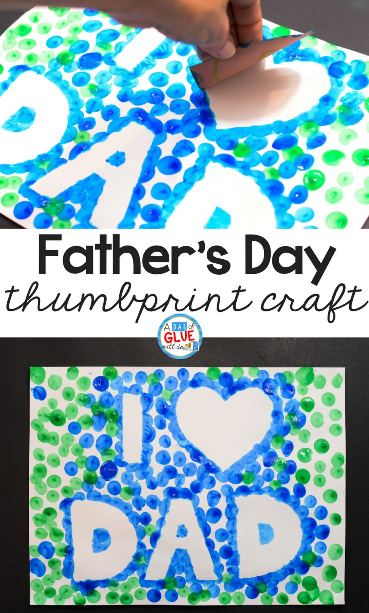 Want a creative and personalized gift idea for dad? Make him an extra special piece of artwork with this Father's Day Thumbprint craft!