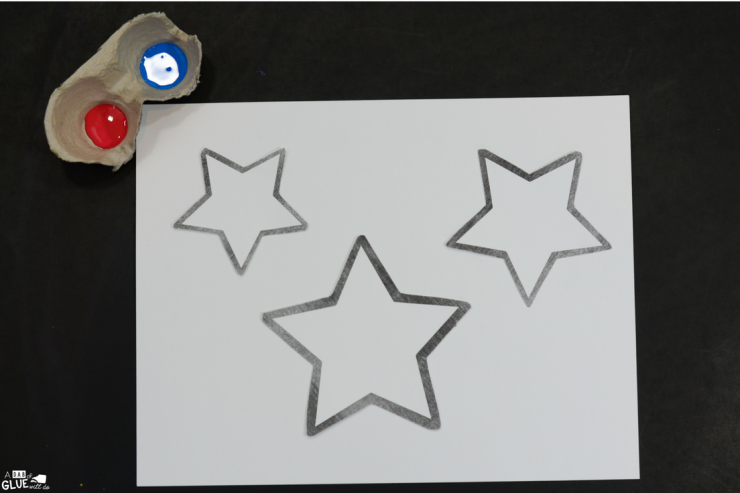 Red, white, and blue abounds with this easy 4th of July Patriotic Stars thumbprint craft.