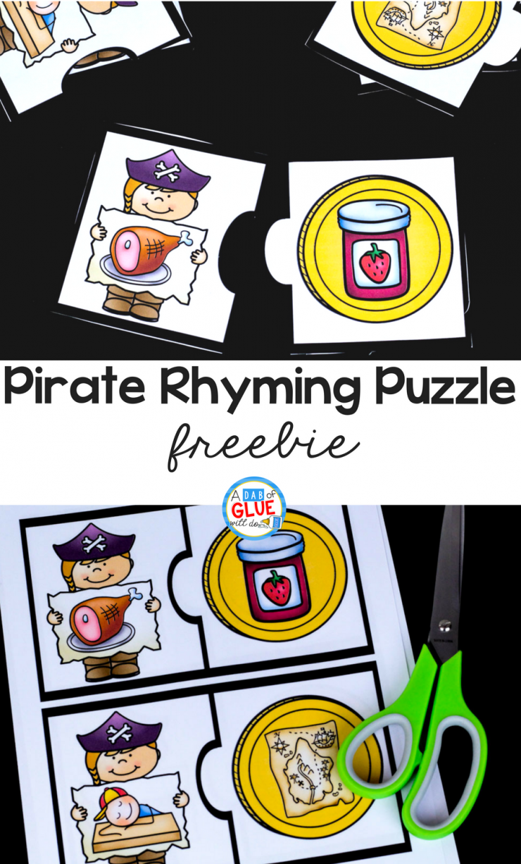 Your students in PreK, Kindergarten, or First Grade are going to LOVE this Pirate Rhyming Puzzle!
