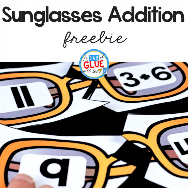 Math is hands-on learning fun with this sunglasses addition puzzle freebie!