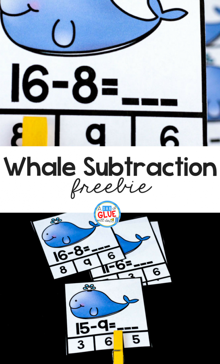 Your students are going to absolutely LOVE using these Whale Subtraction Clip Cards in your math and literacy centers!