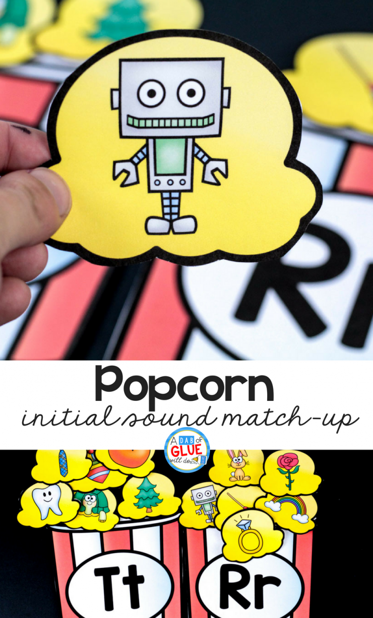 This popcorn initial sound match up is the perfect addition to your early literacy center! Your students are going to LOVE this!