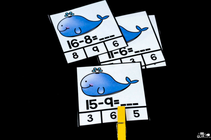 Give your students the additional help they need with these Whale Subtraction Clip Cards!