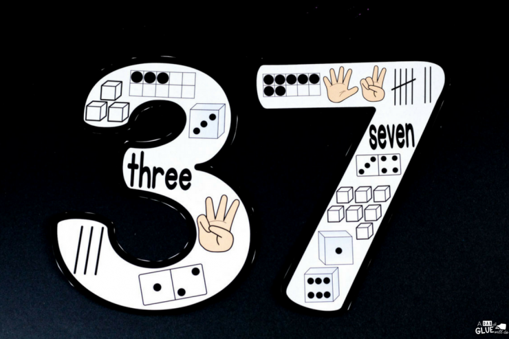 Printable number posters featuring the numbers 3 and 7.