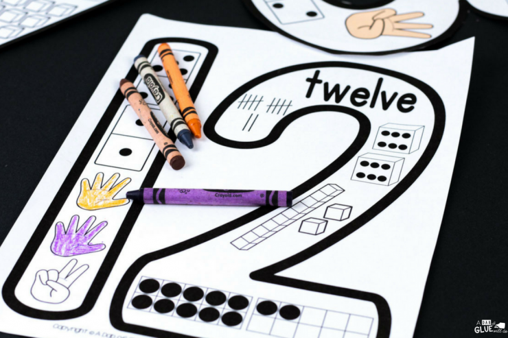 Printable number puzzle with the number 12