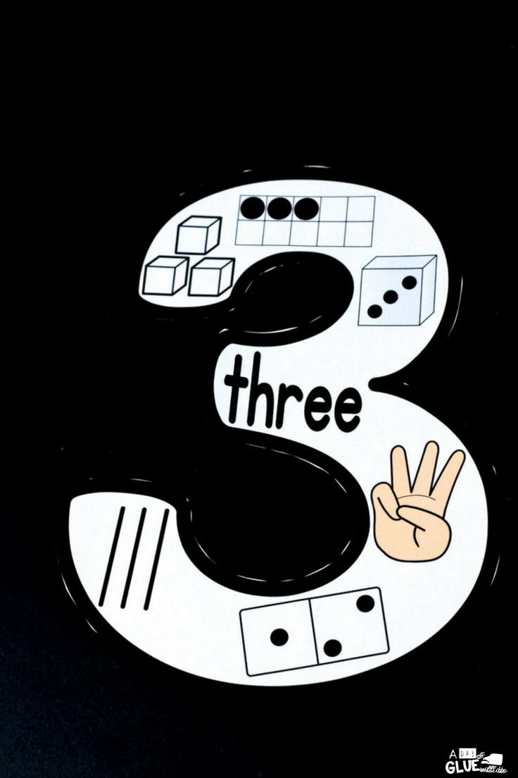 Printable number puzzle featuring the number 3