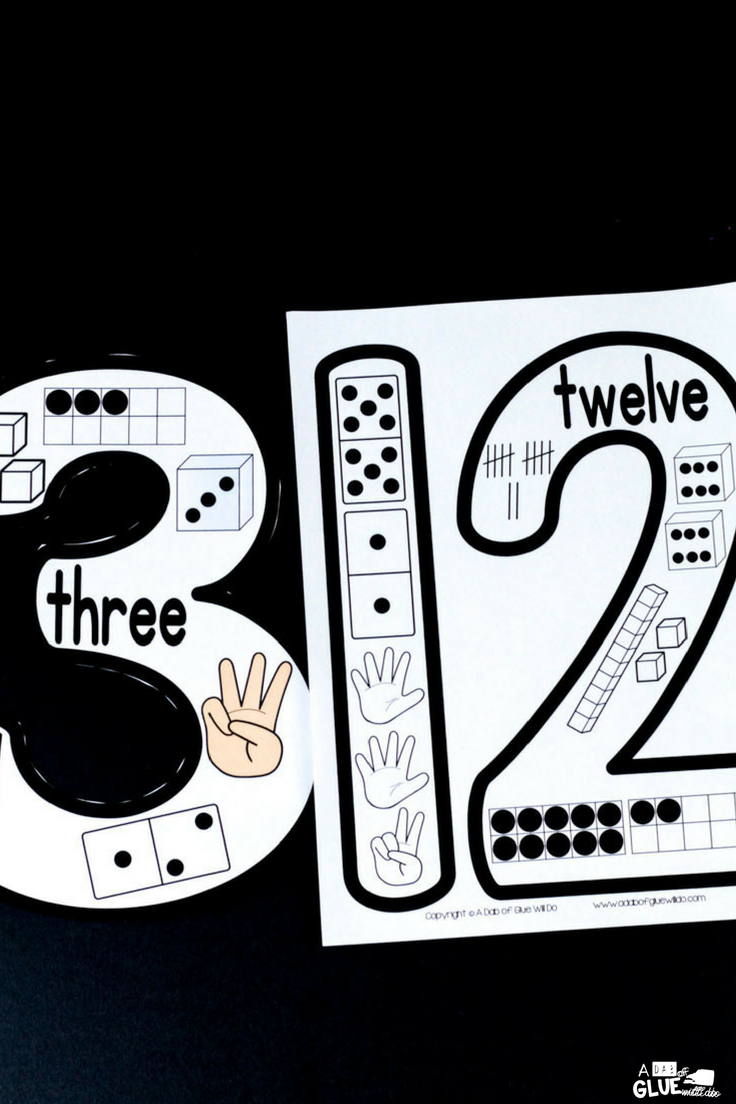 Printable number posters for the PreK, Kindergarten, or First Grade classroom.