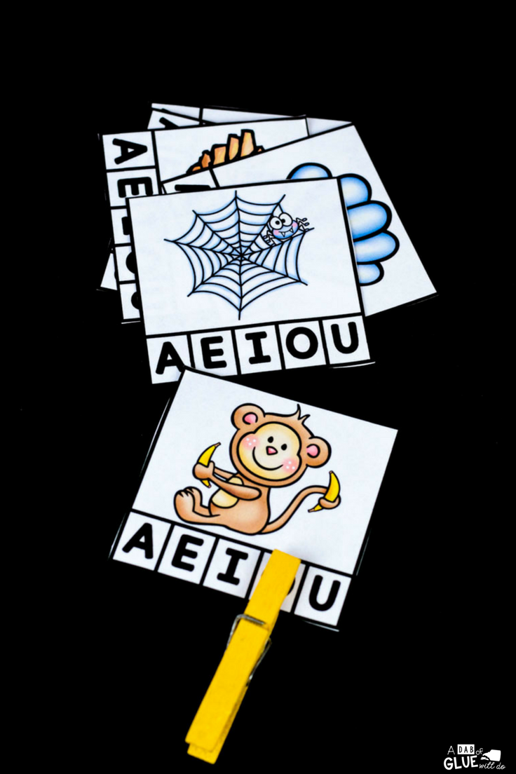 Your students are sure to LOVE this vowel clip cards printable! Perfect for working on early literacy and fine motor skills.
