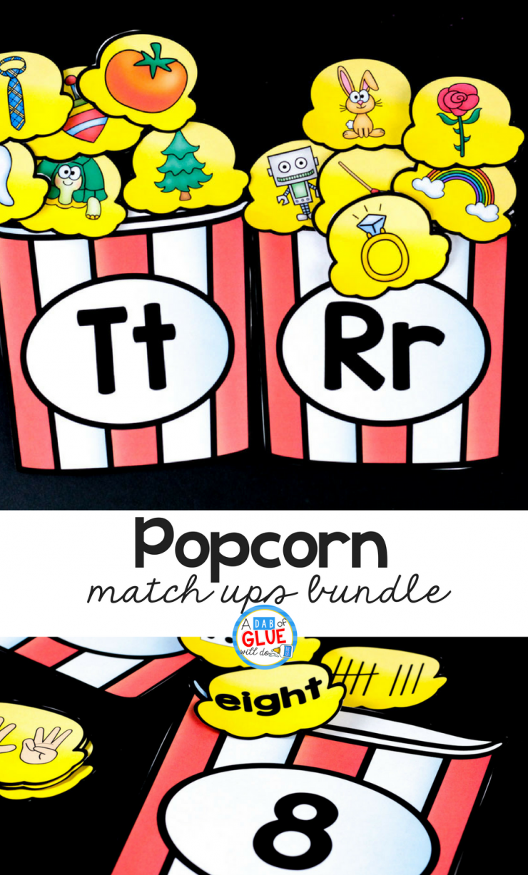 Make learning hands on and FUN when you add this Popcorn Match Ups bundle to your early literacy and math centers!