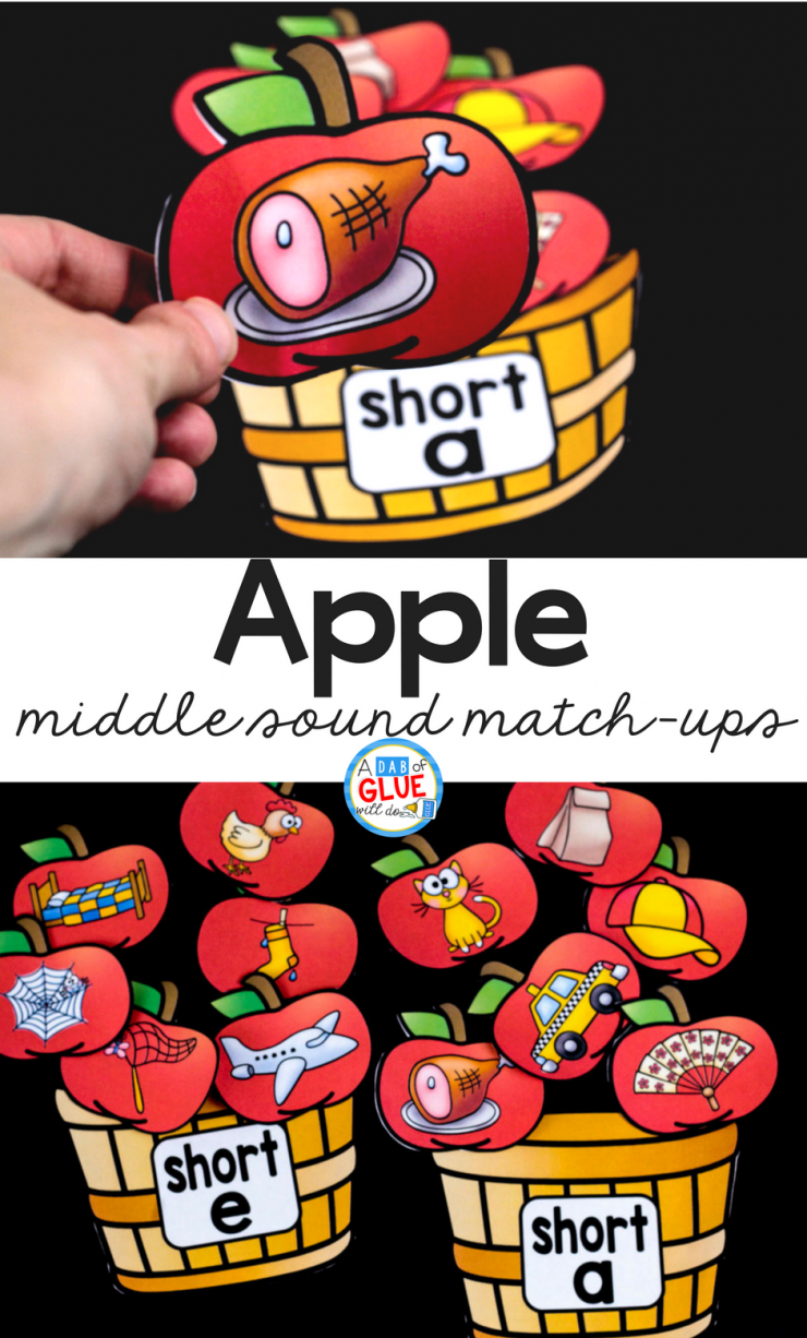 Your students are going to LOVE using this apple middle sound match up in your early literacy center! Perfect for learning or reviewing long and short vowel sounds.
