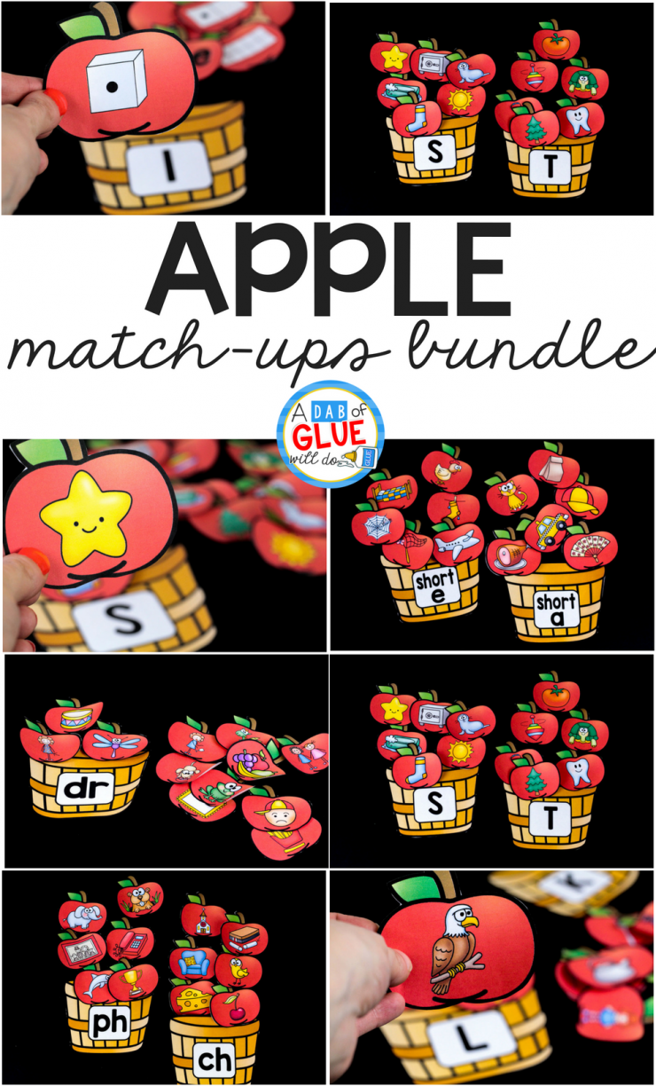 Your students are going to LOVE this apple match-ups bundle! Featuring numbers, initial sounds, middle sounds, blends, digraphs, and ending sounds; you get literacy and math PLANNED for you.