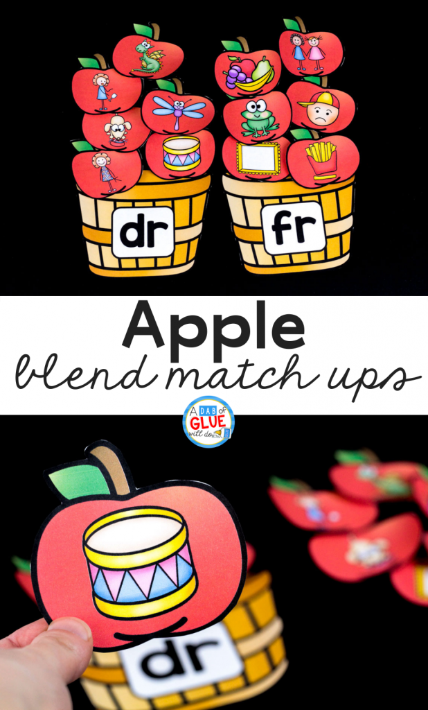This Apple Blends Match-Up helps students pull together individual sounds or syllables within words in an enjoyable hands-on way