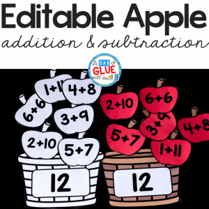 This Apple Editable Addition and Subtraction Activity will make reviewing math facts fun! Students will love playing this addition and subtraction game this fall!