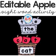 Apple Editable Sight Word Activity