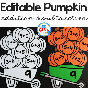 Pumpkin Editable Addition and Subtraction Activity