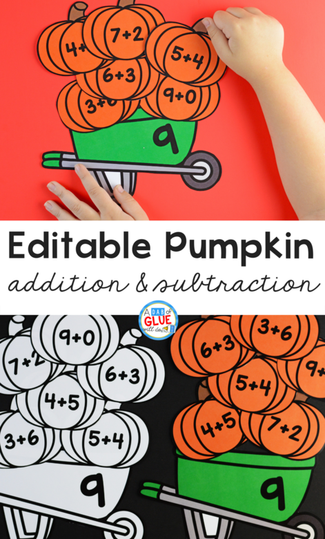 Pumpkin Editable Addition & Subtraction Activity connects pumpkins with key math concepts, so your kids can review their math facts in a fun hands-on way!
