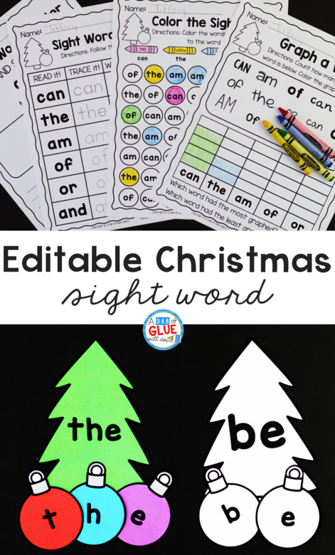 This Christmas Editable Sight Word Activity helps our little learners to review their sight words in an enjoyable hands-on way!