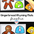 Use this Gingerbread Rhyming Mats Activity tohelp ourpreschool and kindergarten students build theirphonological awareness in a hands-on way.