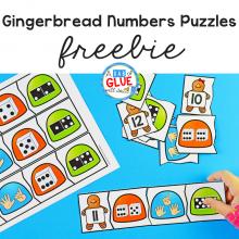 Gingerbread Numbers Puzzles Freebie