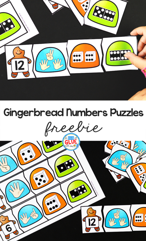 Gingerbread Numbers Puzzles Freebie