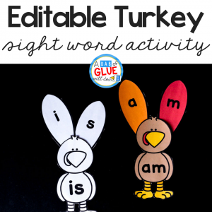 Students will have a gobble of a good time learning their sight words with this hands-on Turkey Editable Sight Word Activity!