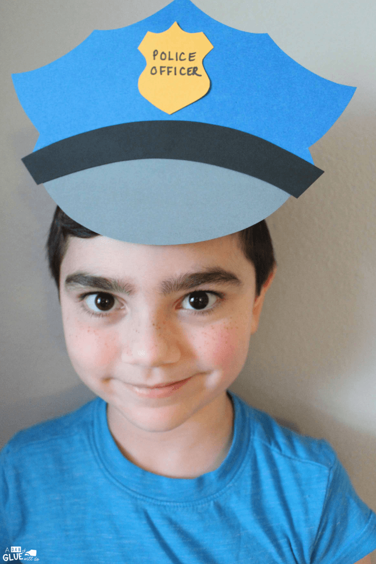 Paper Police Hat Craft A Dab Of Glue Will Do