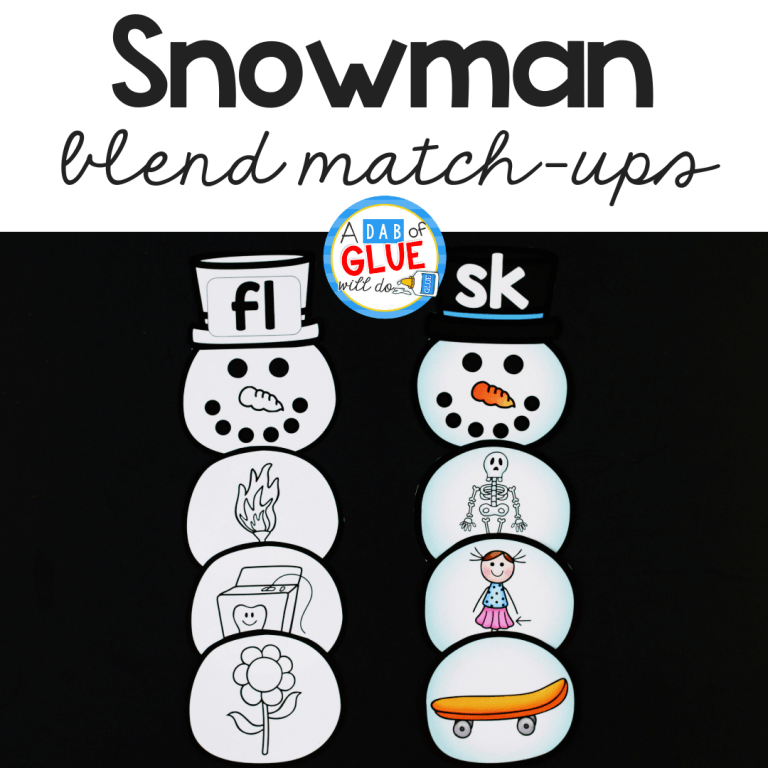 Snowman Blends Match-Up literacy activity is the perfect way to practice blending together individual soundswithin words in a hands-on way.