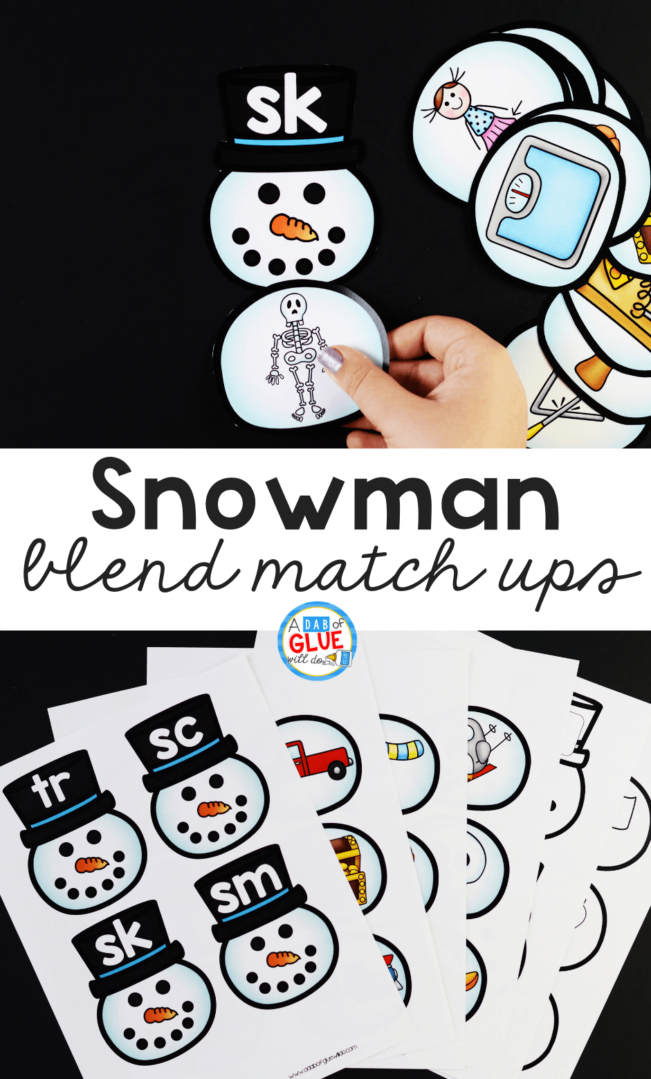 Snowman Blends Match-Up literacy activity is the perfect way to practice blending together individual sounds within words in a hands-on way.