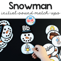 Kids love this Snowman Initial Sound Match-up. It helps them to learn sounds and phonemes at the beginning of words in an enjoyable hands-on way!