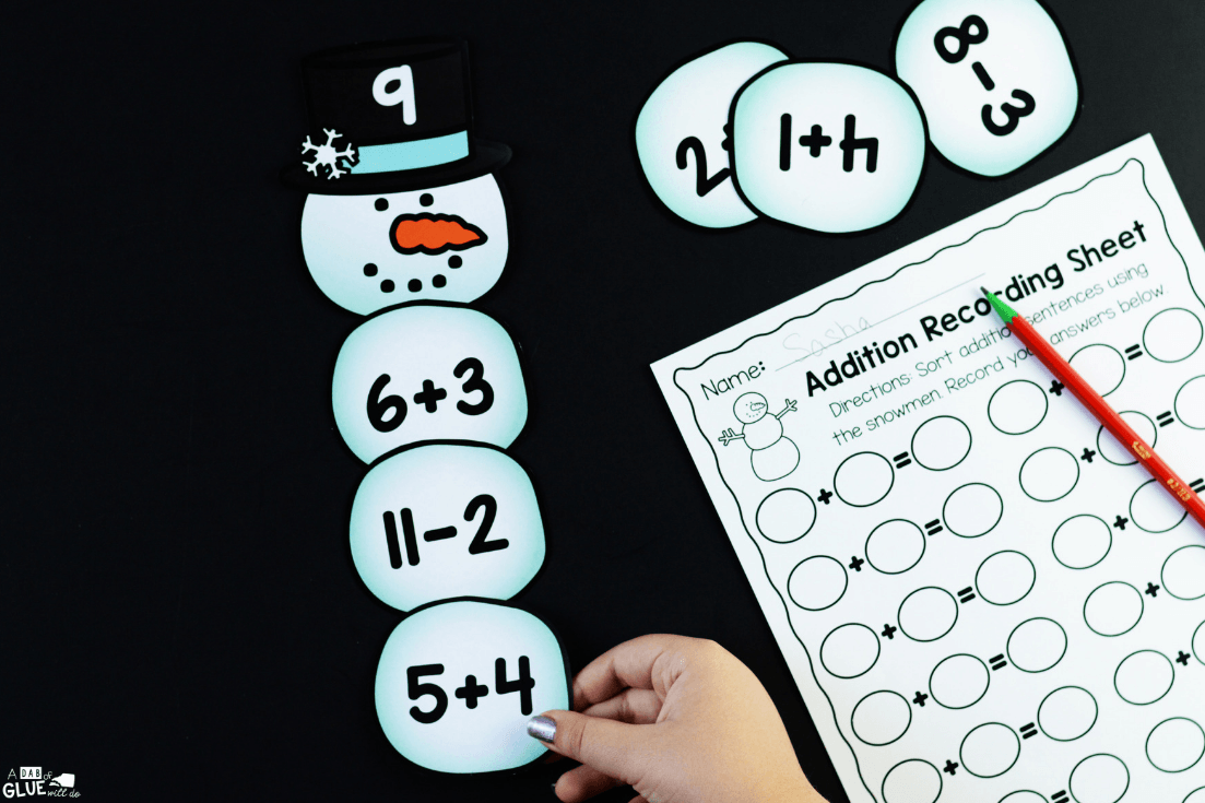 To connect snowmen with key math concepts, I've created this SnowmanEditable Addition and Subtraction Activityso our kids can review their math facts in a fun hands-on way!