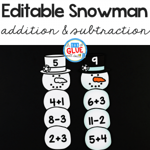 To connect snowmen with key math concepts, I've created this Snowman Editable Addition and Subtraction Activity so our kids can review their math facts in a fun hands-on way!
