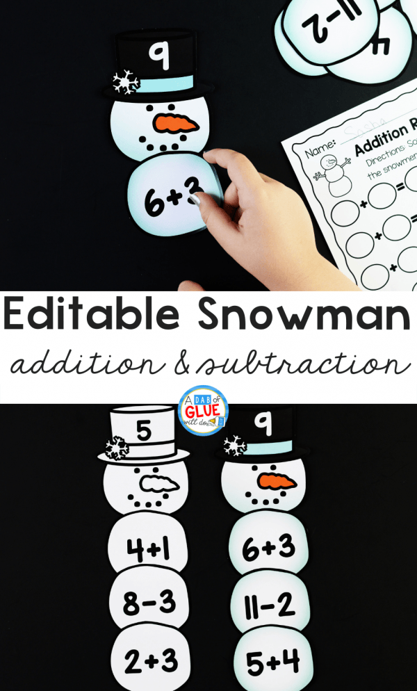 Connect winter with key math concepts with this Snowman Editable Addition and Subtraction Activity. Kids can review their math facts in a fun hands-on way!