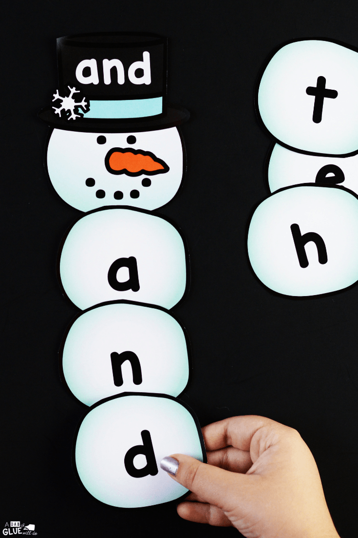 Winter theme games like this Snowman Editable Sight Word Activity and worksheets is a great way to get kids learning without realizing they are learning.