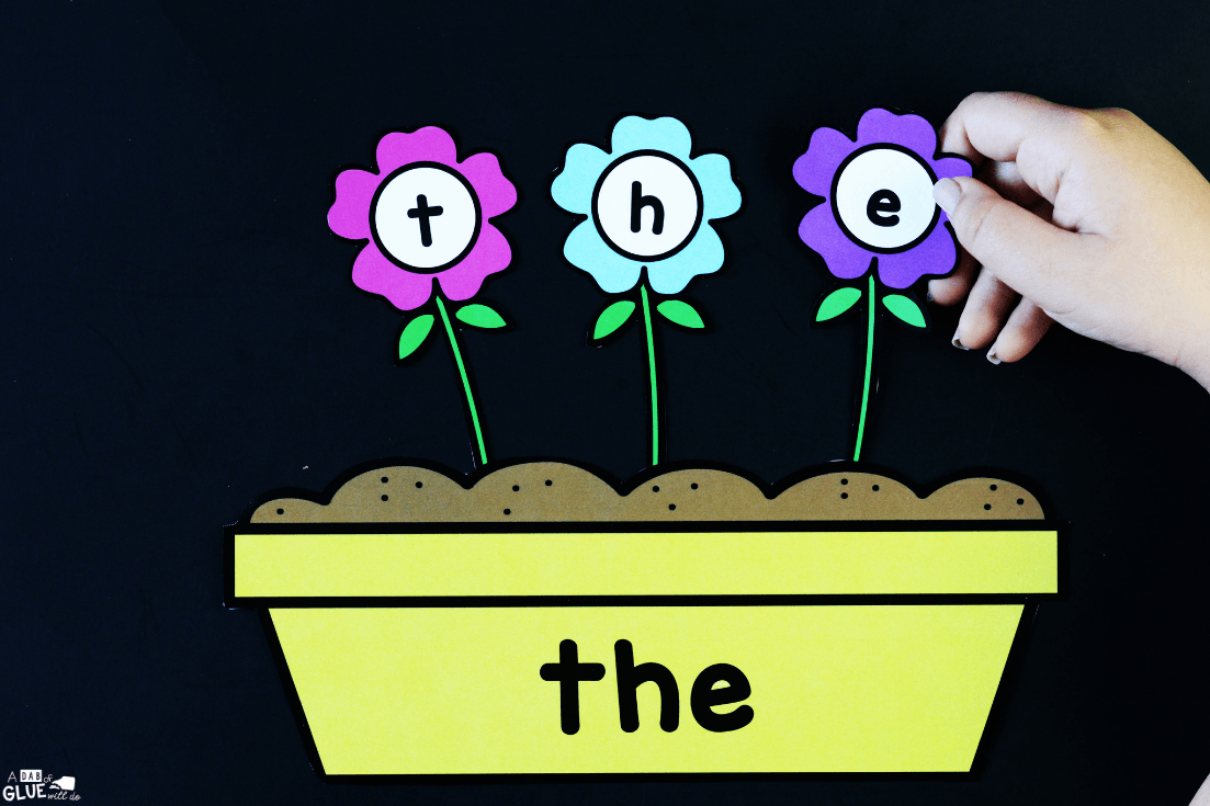 "students will use the flowers to spell out the sight word ""the"""