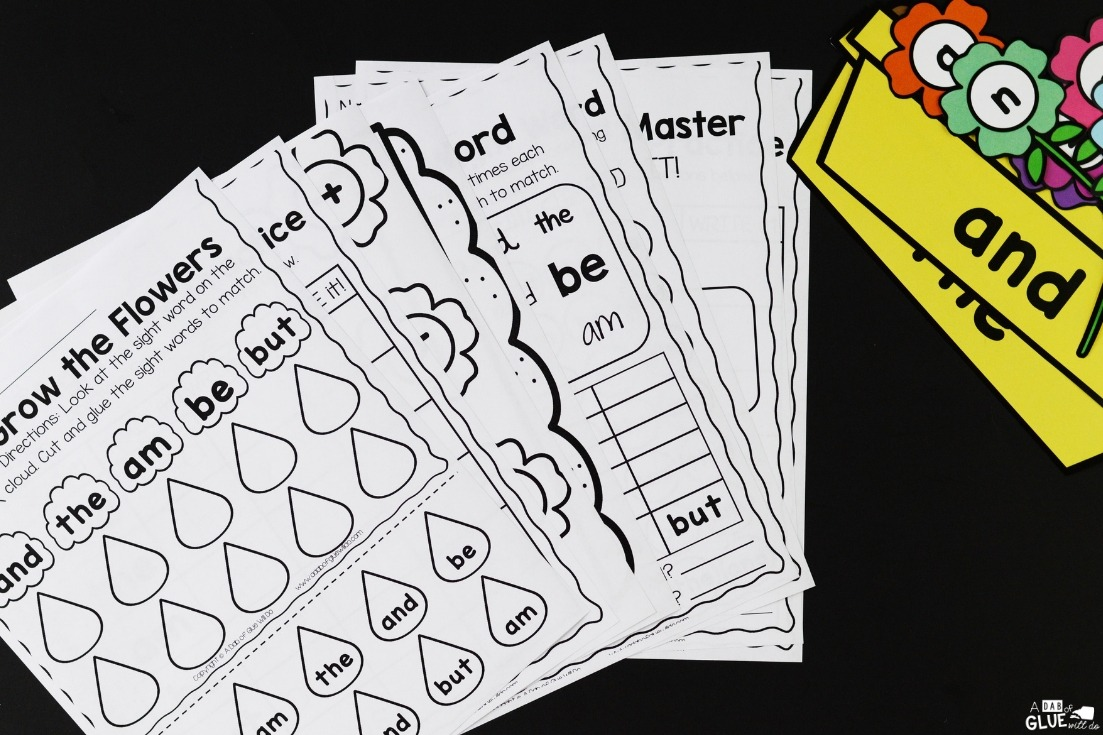 flower editable sight word worksheets and game