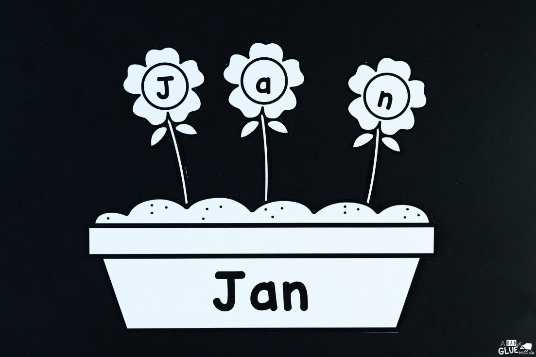 black and white flower name activity