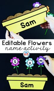 Flowers Editable Name Activity for Kids to Practice Building Their Name in a fun and hands-on way. Students will be engaged with this seasonal game.