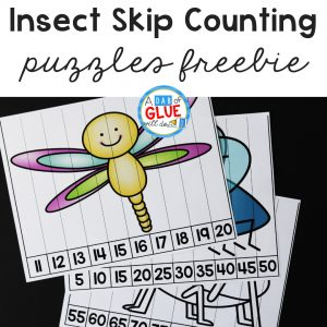 As we build on our counting skills we show what we know with a spring theme, using these Insect Skip Counting Puzzles. Connecting fun with Learning.