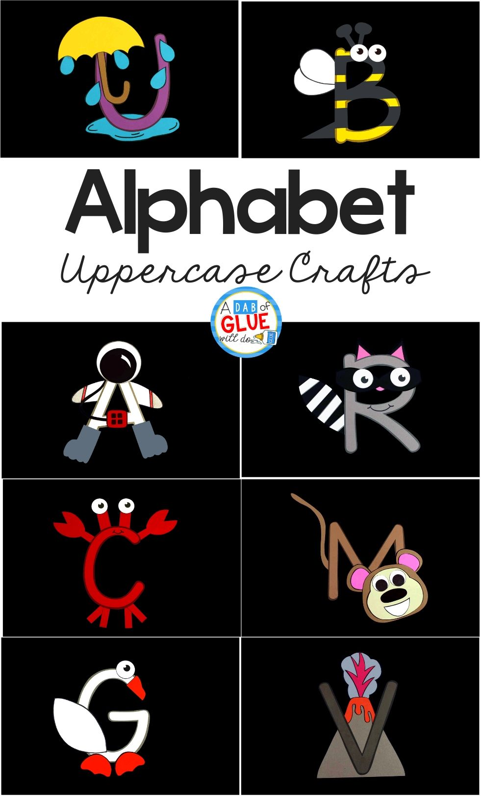 I love having weekly themes especially when we can build on it with the alphabet throughout the year. So I've created this Alphabet Crafts Uppercase and Worksheet Bundle.Â