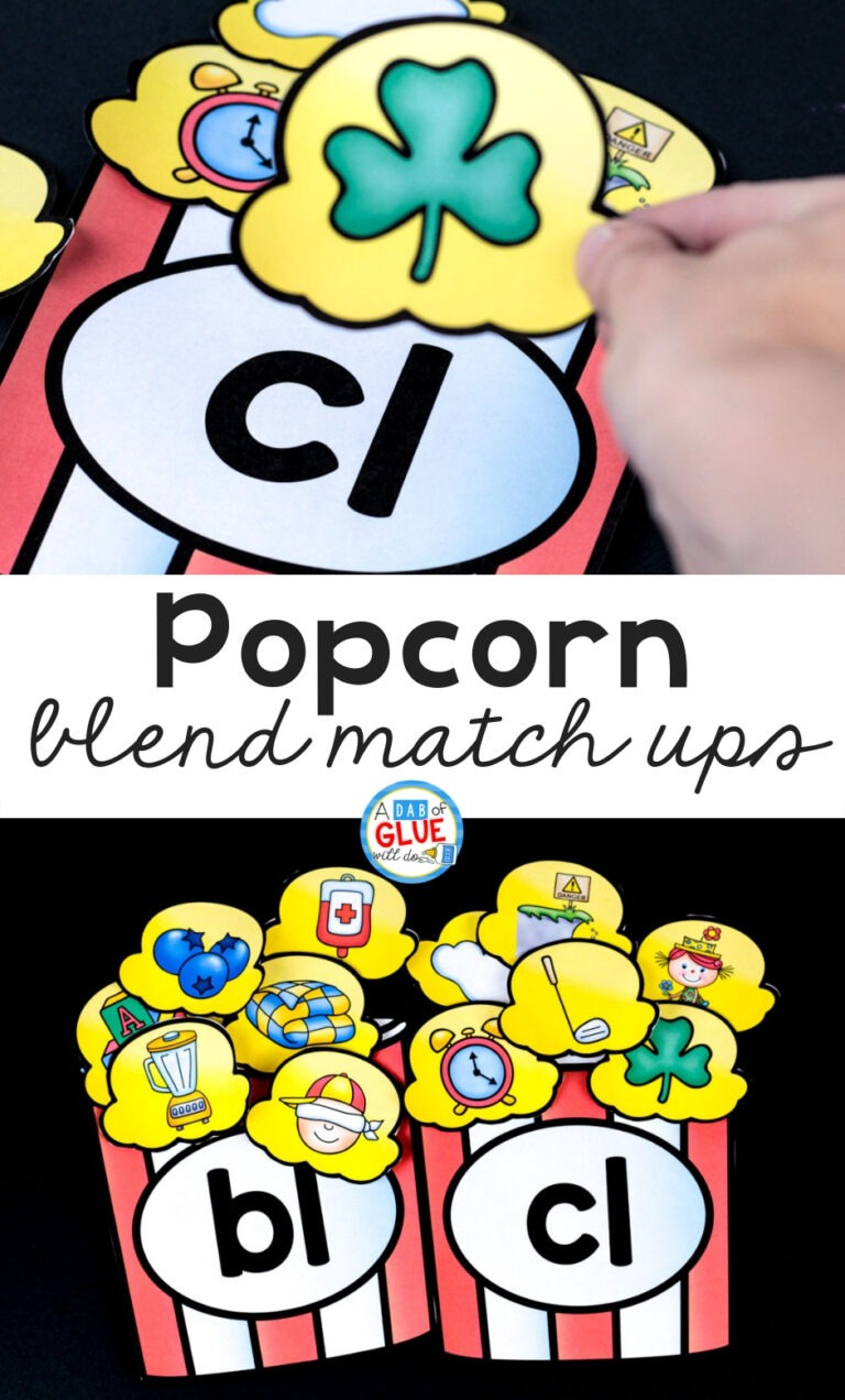 Use this Popcorn Blends Match-Up so students can practice blending together individual sounds within words in a hands-on way!