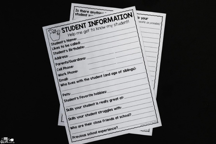 Overhead shot of the student information questionnaire.