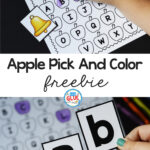 Apple pick and color freebie printable.