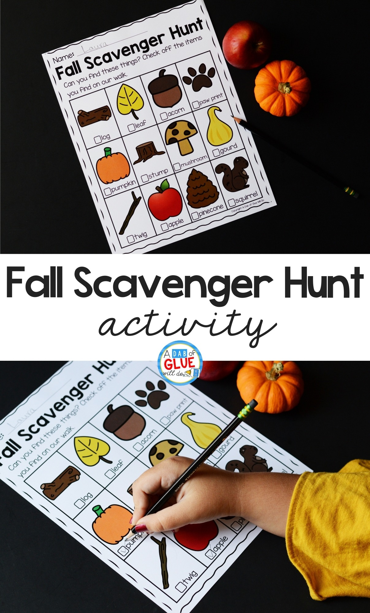 Fall Scavenger Hunt activity Pinterest image.