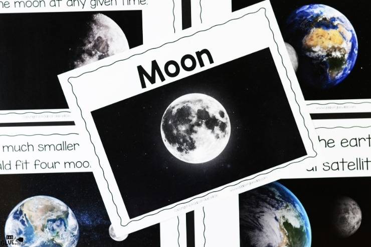 Overhead shot of what is included in the moon section of the Space Science Lesson Unit.