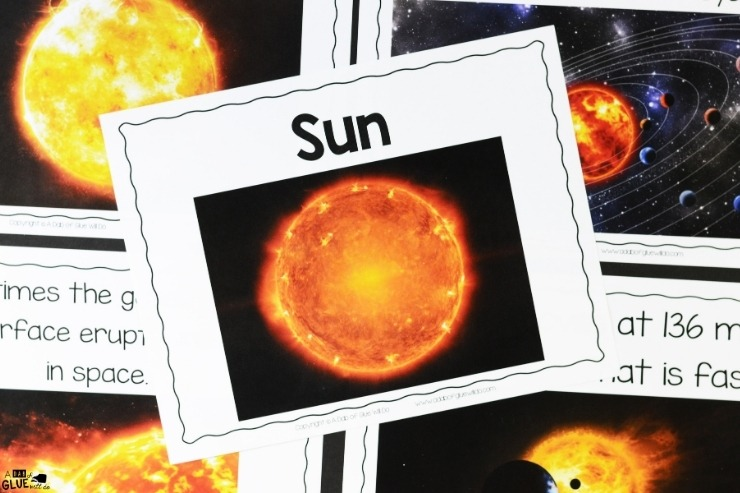 Overhead shot of what is included in the sun section of the Space Science Lesson Unit.