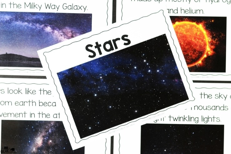 Overhead shot of what is included in the stars section of the Space Science Lesson Unit.